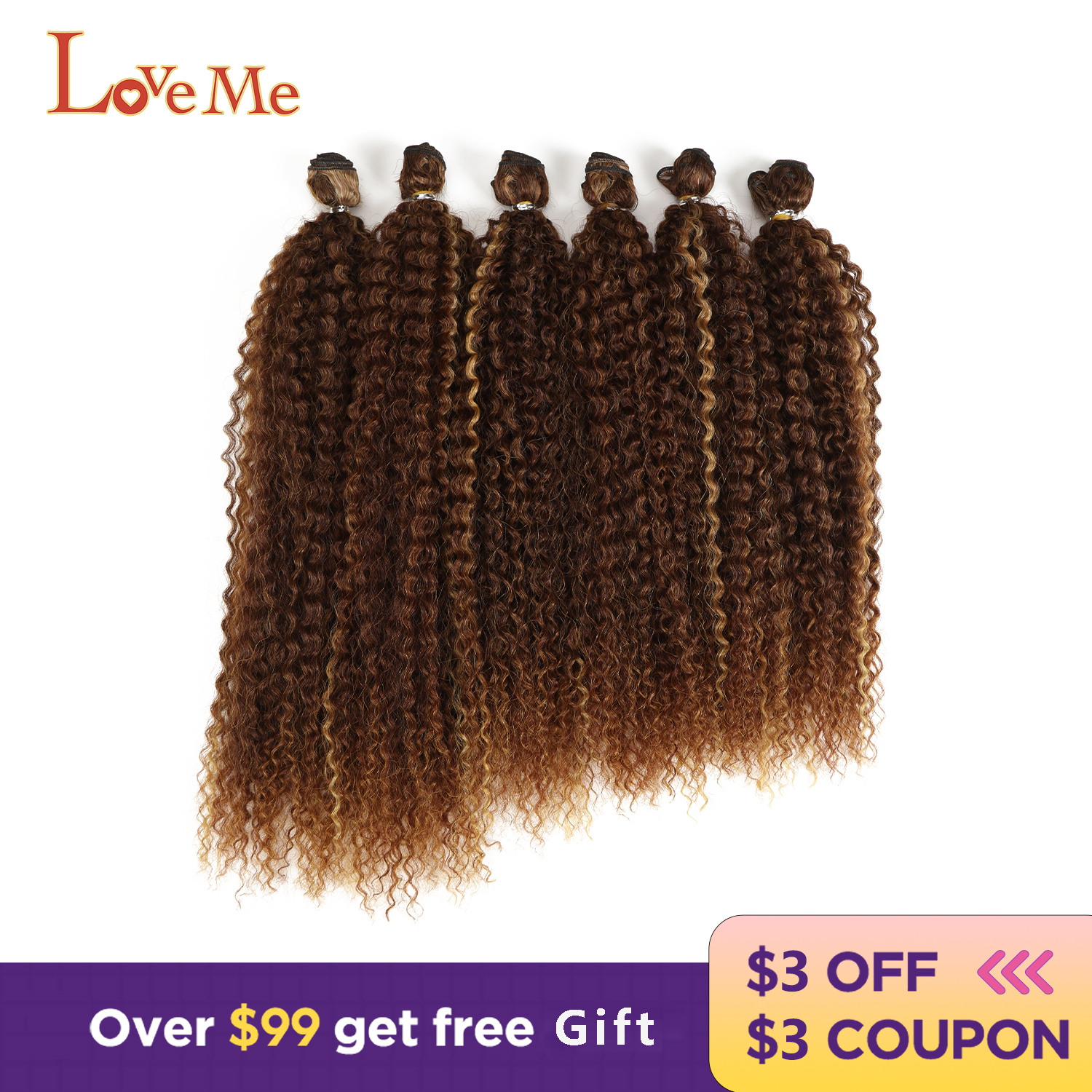 LOVE ME Afro Kinky Curly Synthetic Hair Natural Hair Extensions Ombre Heat Resistant Weave Hair Bundles For Black Women