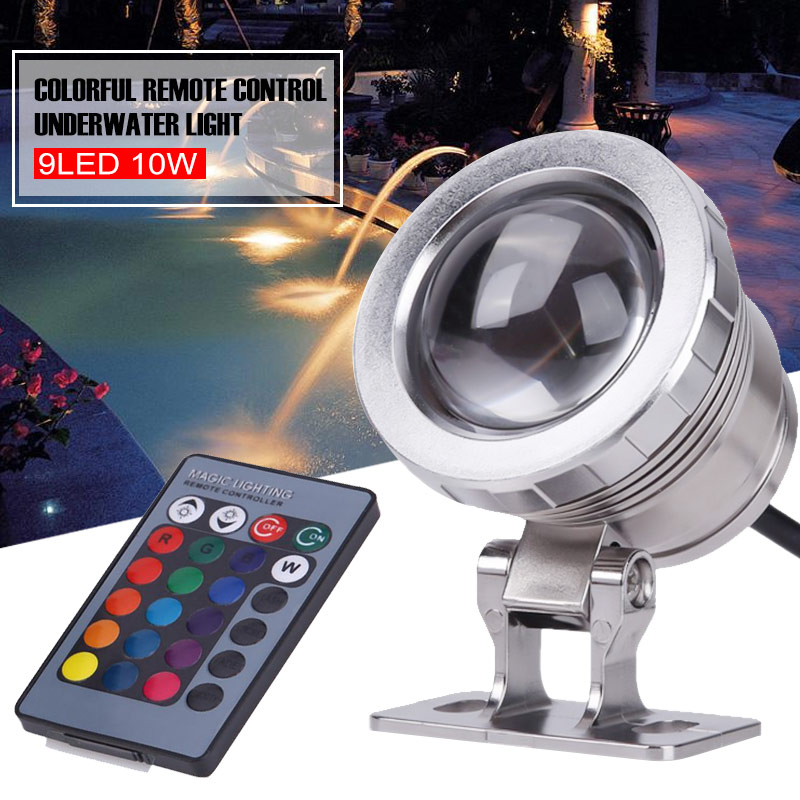 Underwater Light LED Underwater Light Garden Home RGB Remote Control Durable Underwater Spotlight Swimming Pool Pond Tank