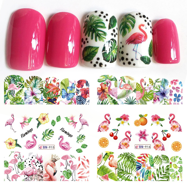 12 デザインフラミンゴネイルステッカー水花緑色植物スライダー装飾ネイルアートラップマニキュアヒント BEBN913 924