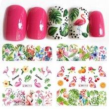 12 diseños de pegatinas de flamenco para uñas, calcomanías al agua, flores, plantas verdes, decoraciones, envolturas para manicura, consejos BEBN913 924