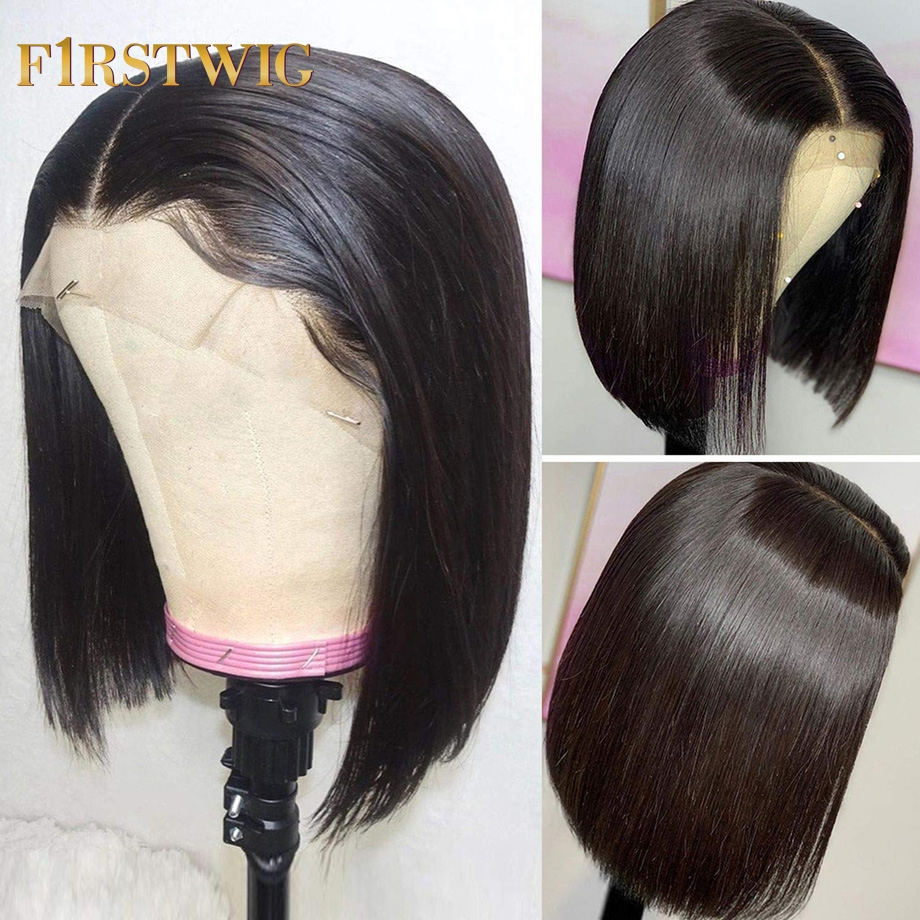 FirstWig Lace Front Human Hair Wigs Brazilian Straight For Black Women Wig Short And Long 8-30 Inch Pre Plucked With Baby Hair