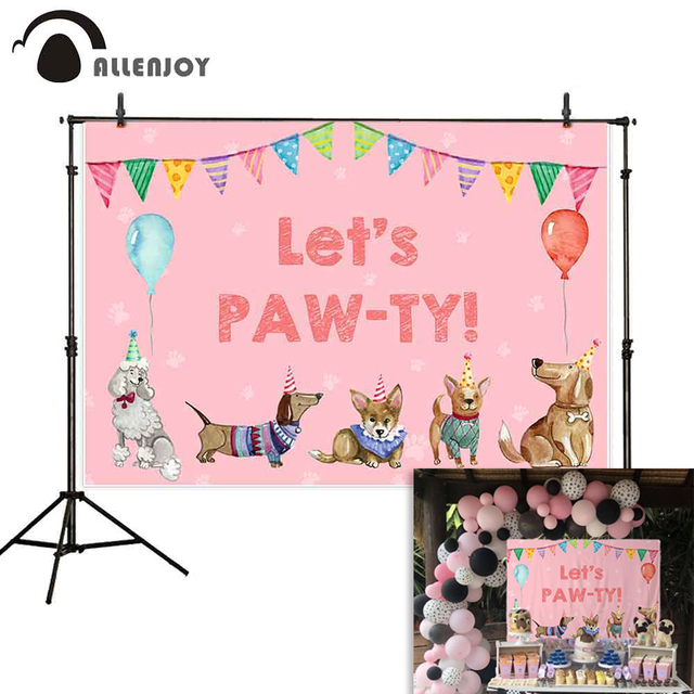 Allenjoy photography backdrop Dogs Banners Balloons Birthday Baby Shower party photophone photographic backgrounds