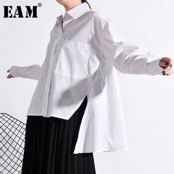 [EAM] Women White Back Long Split Temperament Blouse New Lapel Long Sleeve Loose Fit Shirt Fashion Spring Autumn 2020 JU84700