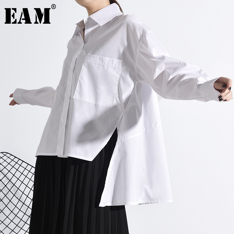 [EAM] Women White Back Long Split Temperament Blouse New Lapel Long Sleeve Loose Fit Shirt Fashion Spring Autumn 2020 JU84700