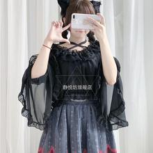 Японский Питер Пэн воротник шифоновая рубашка Топ Лолита рубашка сладкий милый ретро готический Чай Вечерние Loli рубашка