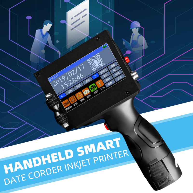 220V Label Inkjet QR Printer Handheld Touch Screen USB Automatic Coding Machine Production Date English System Smart Encoder