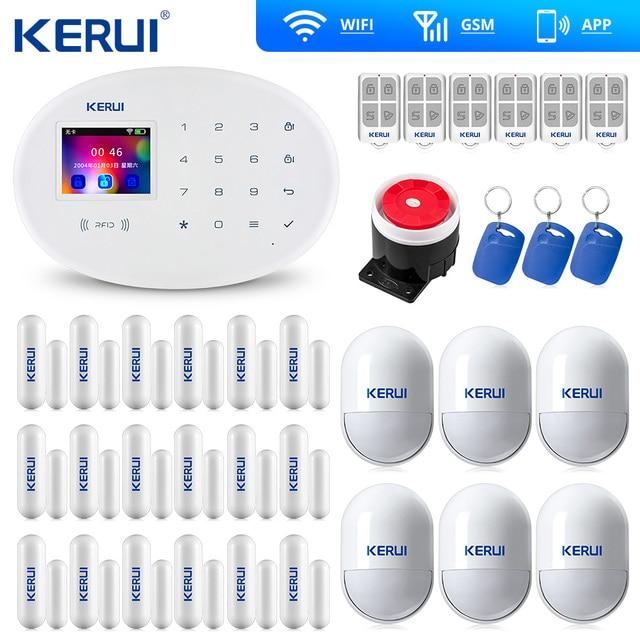 KERUI W20 Wifi Gsm APP sterowanie Rfid ekran dotykowy Alarm bezprzewodowy GSM SMS intruz System alarmowy PIR ruch