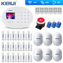 Kerui w20 wifi gsm app controle rfid tela de toque alarme sem fio gsm sms intruder sistema alarme segurança pir movimento