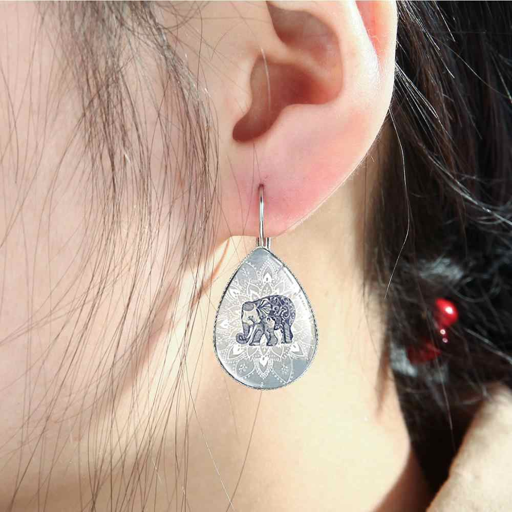SONGDA Boho คริสตัล Ganesha Elephant ต่างหูอินเดียชาติพันธุ์เครื่องประดับ Cabochon Mandala ออกแบบ Drop ต่างหูสำหรับผู้หญิง