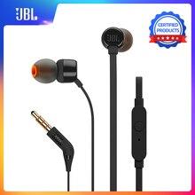 JBL T110 ב אוזן אוזניות דינמי ספורט מוסיקה טהור HIFI עמוק בס Stero קול אוזניות 1 כפתור מרחוק עם מיקרופון אוזניות