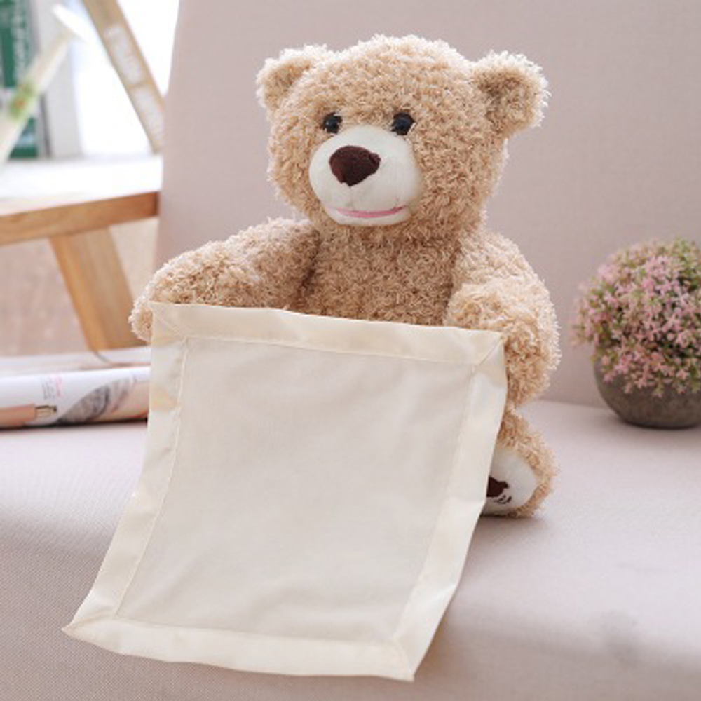 30cm Peek A Boo Teddy Bear Elephant Plush Toy Play Hide Seek Cartoon Lovely Cute Electric Music Bear Birtherday Xmas Gift