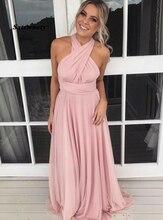 Sexy Bridesmaid Dresses Vestido De Festa Casamento A-Line Cross Neck Backless Pink Chiffon Dress