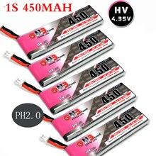 5 pcs/lots 1S LiPo סוללה Gaoneng GNB 450mAh 80/160C 4.35V עם PH2.0 לבן תקע Battey