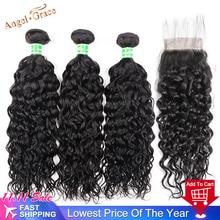 AngelGrace שיער מים גל חבילות עם סגירת רמי שיער טבעי 3 חבילות עם סגירה ברזילאי שיער Weave חבילות עם סגירה