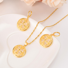 Gold dubai india flower African jewelry Set Necklace pendant Earrings Ethiopia wedding bridl jewelry sets for women girl gifts emmaya new top white gold plate flower jewelry set aaa cubic zircon pendant earrings for women wedding jewelry sets