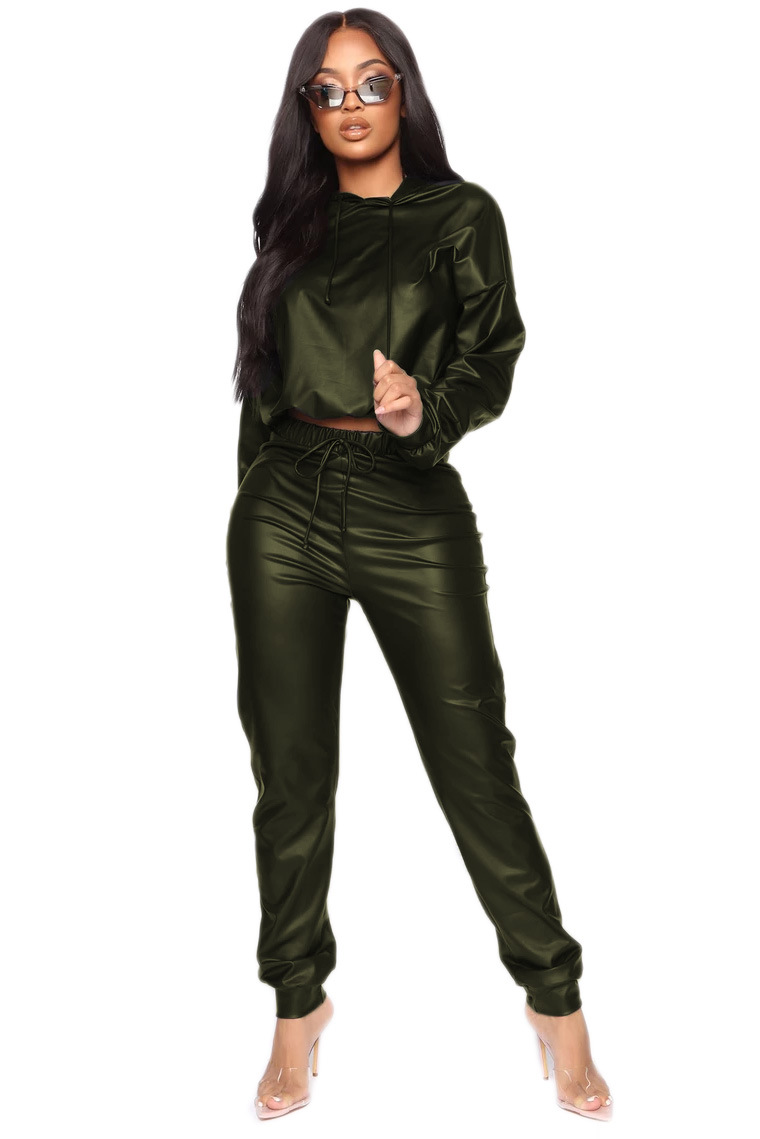 Plus Size 2020 Spring Women Two Pieces Set Pu Leather Hooded Crop Top +Long Pants High Waist Club Wear Outfit For Women