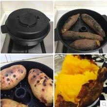 Плоская Нижняя чугунная тепловарка, старая сковорода с ручками, многофункциональная электромагнитная печь, Горшочек для жареного сладкого картофеля, сухая запеченная 28 см