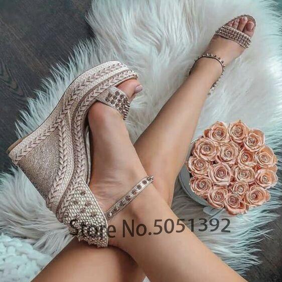 Femme compensées Rivet sandales bout ouvert une sangle tressée cheville sangle robe chaussures mariage femme de chambre plate-forme confort été printemps chaussures