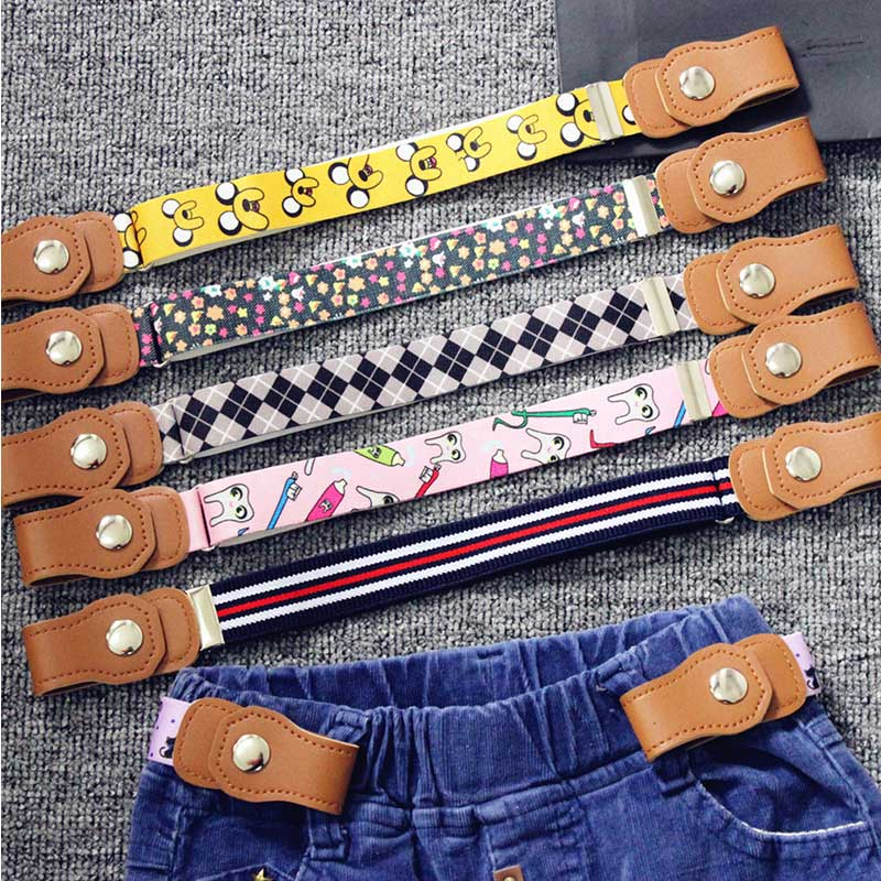Cartoon Print Child Buckle-Free Elastic Belt Kids Waistband Boys And Girls Belts For Dress Jeans Pants Toddlers Adjustable Belt