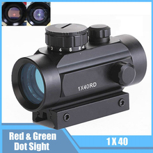 Tactical 1X40 Red Green Dot / Cross Sight Scope Riflescope 11mm / 20mm Rail Airsoft Hunting Rifle Optics Sight 22mm rail tactical hunting riflescope 4x30 red green dot sight scope laser sight shooting scope gun rifle airsoft accessories