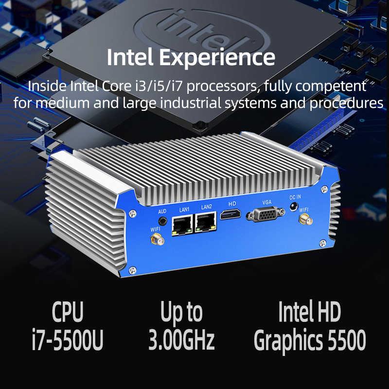 Bezwentylatorowy Mini komputer Intel Core i7 4500U i5 4200U podwójny Gigabit Ethernet RS232 HDMI VGA WiFi 4xUSB3.0 Windows 10 przemysłowy mikro komputer