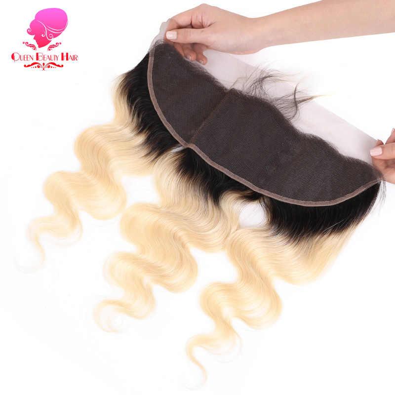 Ratu Kecantikan Remy Brasil Rambut Tubuh Gelombang 13*4 1B 613 Two Tone Akar Gelap Ombre Rambut Pirang Renda Frontal penutupan Bagian dengan Bayi Rambut