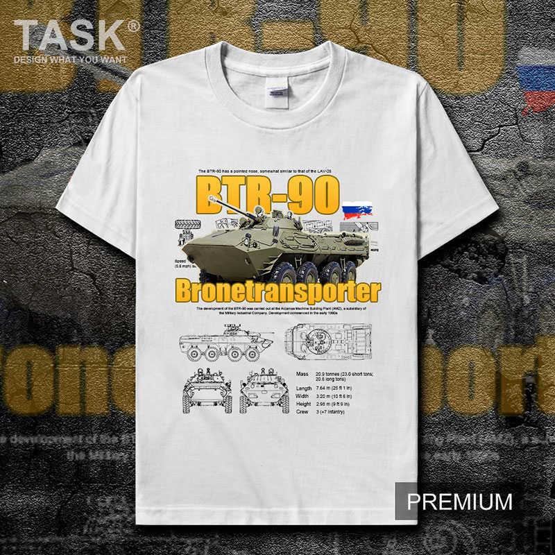Мужская футболка с круглым вырезом и коротким рукавом, с BTR-90, из хлопка, для русской армии, S-3XL