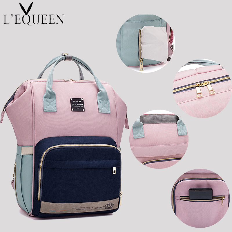 LEQUEEN Diaper Bag Baby Care Mummy Maternity Bag Stroller Bag Nappy Bag Large Storage Travel Waterproof Antifouling Backpack