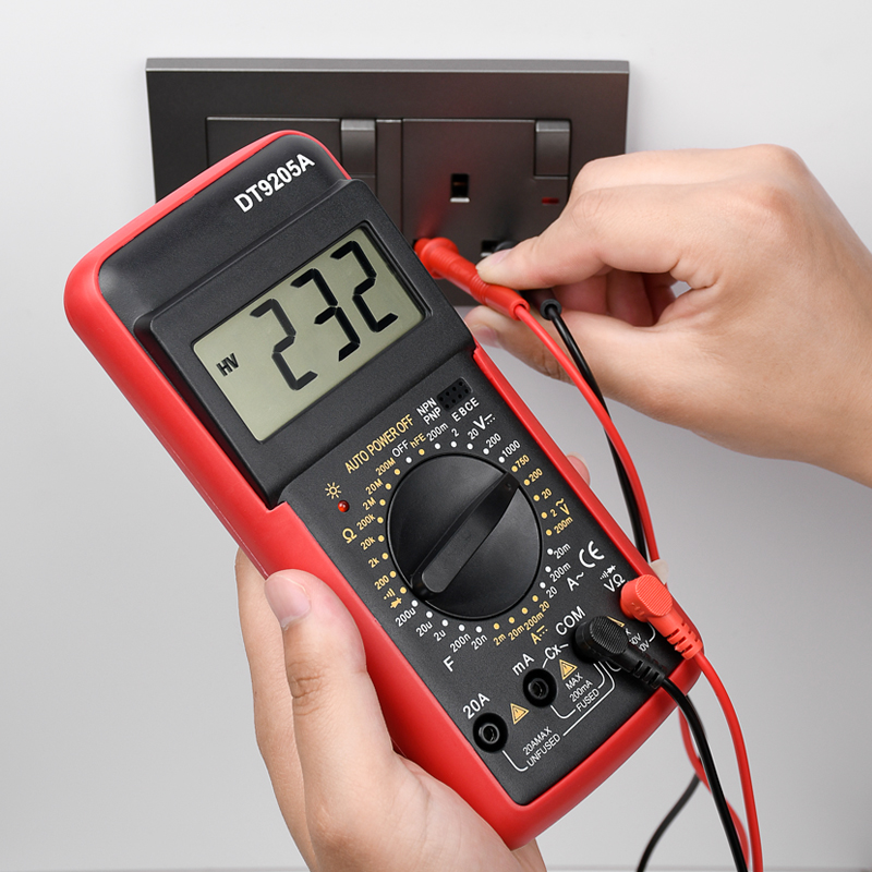 DT9205A Multimetro professionale digitale AC DC tensione Amp Transistor Tester Ohm hFE capacità DMM Multimetro strumenti elettrici