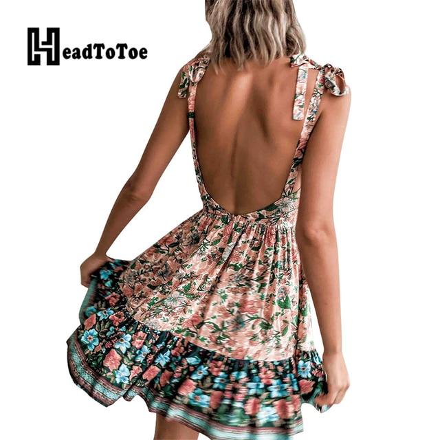 Sexy Backless Tie Strap Print Mini Dress Deep V Neck Women Casual Summer Dress 2