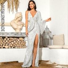 V-Neck Silver Sleeve Sequins