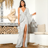LOVE&LEMONADE Sexy Silver V Neck Single Sleeve Sequins Split Party Maxi Dress LM81848 Autumn/Winter