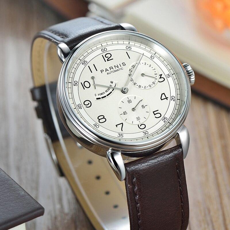 Fashion Parnis 42mm Automatic Mechanical Men's Watch Leather Band Calendar Men Watches relojes para hombre marca de lujo 2019