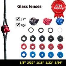 37/45 graus composto arco peep vista lentes de vidro 5pc núcleo interno 6 tempo alumínio habitação clarificador abertura 1/32 3/64 1/16