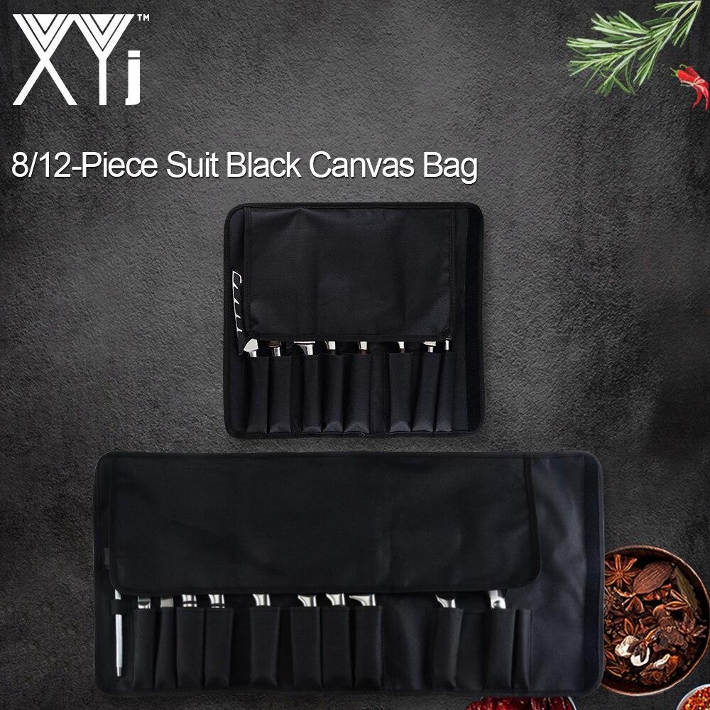 XYj 8 12 cepler şef bıçağı çantası mutfak pişirme taşınabilir dayanıklı depolama cepler siyah rulo çanta taşıma çantası çanta