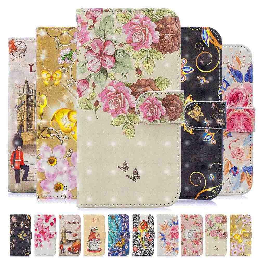 Estojo De Couro flor Coques Para Samsung Galaxy S10 S9 S8 Plus S7 Borda J3 J5 J7 2017 A6 A8 2018 a10 A20 A30 A40 A50 A70 2019 Caso