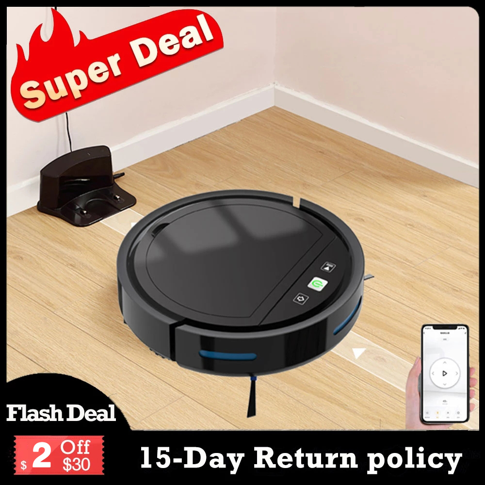 Robot Vacuum Cleaner Auto Recharge APP Wifi Control 2500Pa Suction U Shape...