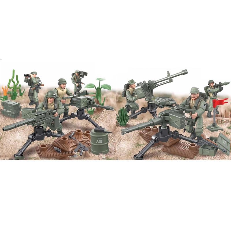 1965 Vietnam World War Military Mega Block Battle Of Ia Drang Scenes Army Action Figures Weapon Machine Gun Building Bricks Toys