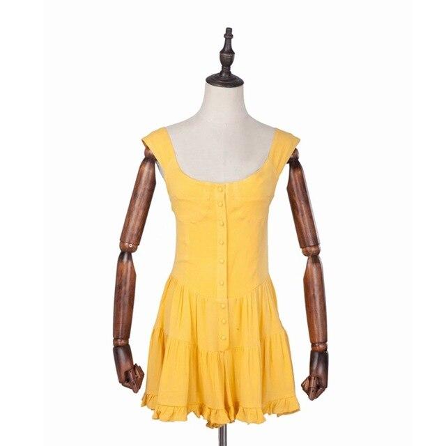 Boho vintage ladies dresses beach ruffle yellow casual mini sexy dress vestidos bohemian elegant Summer dress 2019 7