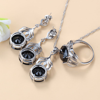 Morocco Jewelry Sets Of Earrings And Pendant Silver 925 Black Topaz Bracelet And Ring Sets For Women Fashion Accessorise 2