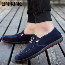LIN KING New Design Men's Leather Casual Shoes Spring Autumn Man Loafers Soft Sole Moccasins Shoes Slip On Outdoor Flats Shoes(China)