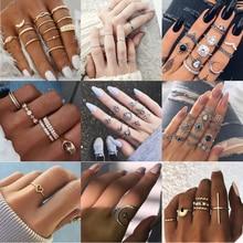 Tocona, Set de anillos de cristal con forma de estrella de gotas de agua Vintage bohemio, anillo de mujer con encanto, regalo de joyería de moda