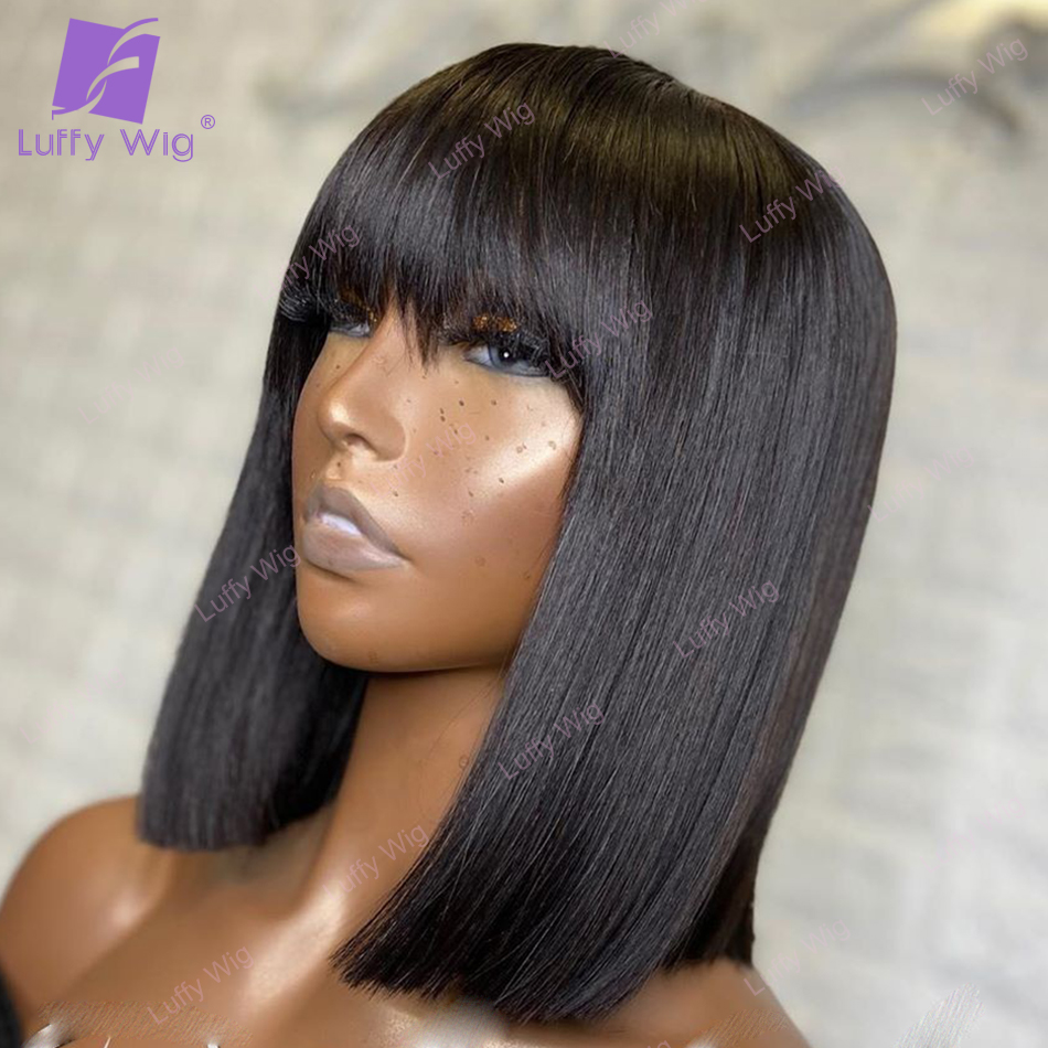 Short Bob Human Hair Wigs With Bangs Indian Remy Hair Machine Made Wig Straight Glueless For Black Women 200% Density Luffy