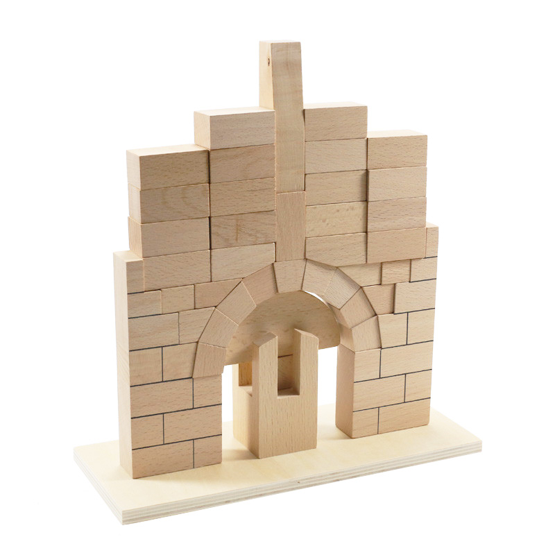 Montessori Baby Toy Roman Bridge Simple Version Beech Wood Blocks Toys For Early Preschool Educational Kindergarten 2-4 Years