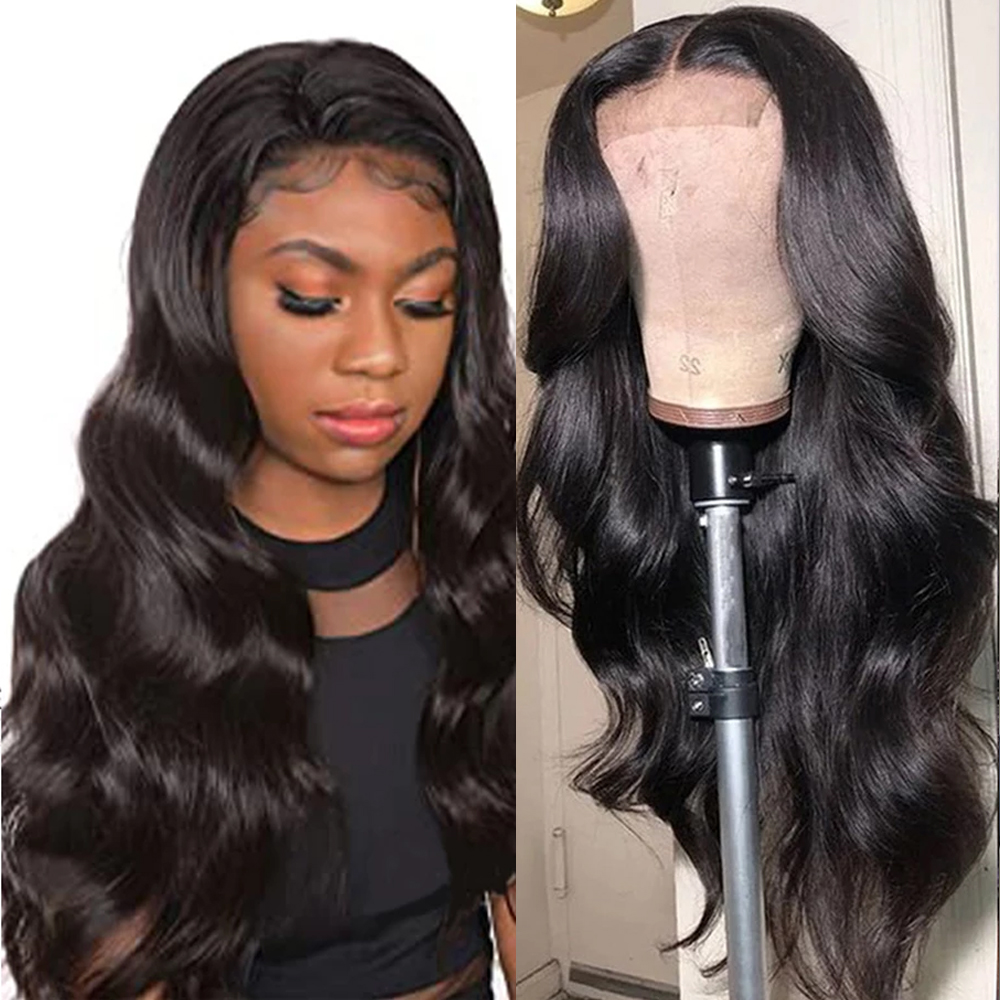 Peruvian Body Wave Lace Human Hair Wigs 150% Density  Lace Wig Pre Plucked Remy Human Hair 4x4 Lace Closure Wig 8-22 Inch