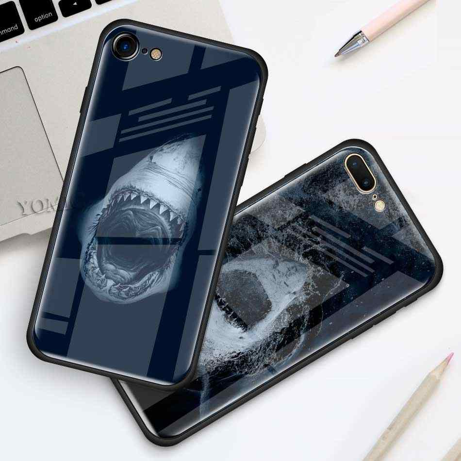 Ocean Whale Sharks Fish Case For Apple Iphone 11 Pro Xr 6 6s 7 8 Plus X Xs Max Black Soft Edge Tempered Glass Cell Phone Cover