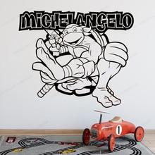 Michelangelo Wall Sticker Ninja  Turtles Vinyl wall  Decal  Decoration Waterproof  art mural HJ947 полуботинки tm ninja turtles для мальчика