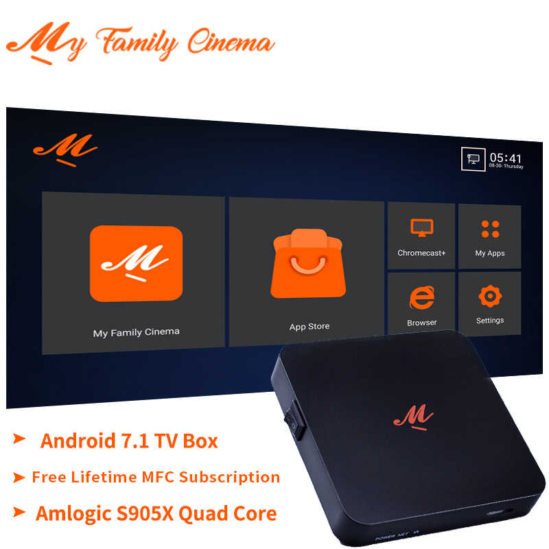 Kostenloser für Lebensdauer Meine familie Kino MFC IPTV Box Amlogic S905X 1GB 16GB Android 7,1 TV Box 4K Media Player smart Set-Top Box