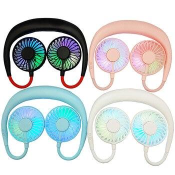 Mini Fan Tragbare USB Hände freies Hängenden Hals Fan Wiederaufladbare Sport Fans 360 Grad Einstellbar Outdoor Lade Luftkühler 40D|Ventilatoren|   -