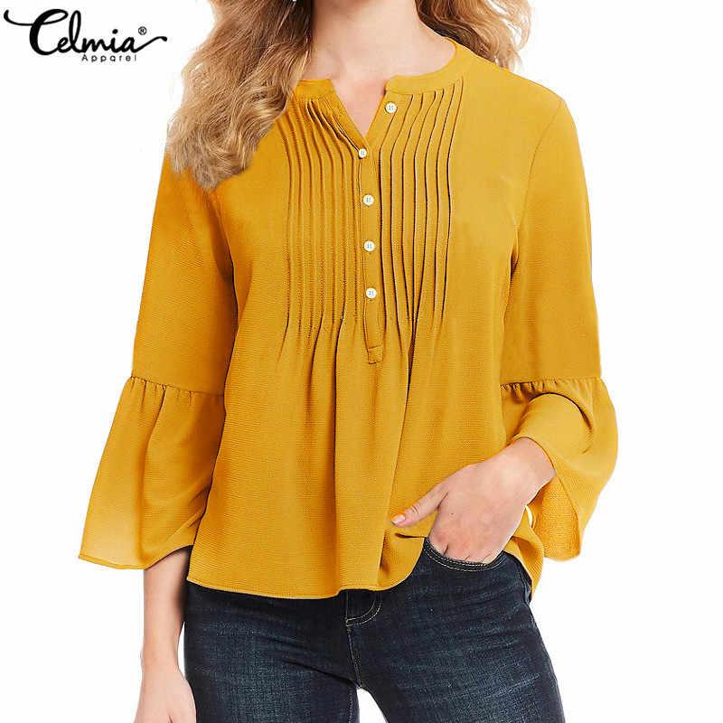 Женская блузка плиссированные рубашки 2019 cellia элегантные расширяющиеся к низу рукава оборки Топы однотонные Желтые Повседневные свободные офисные женские Blusas Mujer 5XL